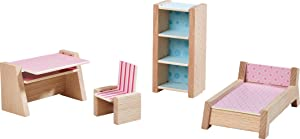 "HABA Little Friends Teenager's Room - Wooden Dollhouse Furniture for 4"" Bendy Dolls"