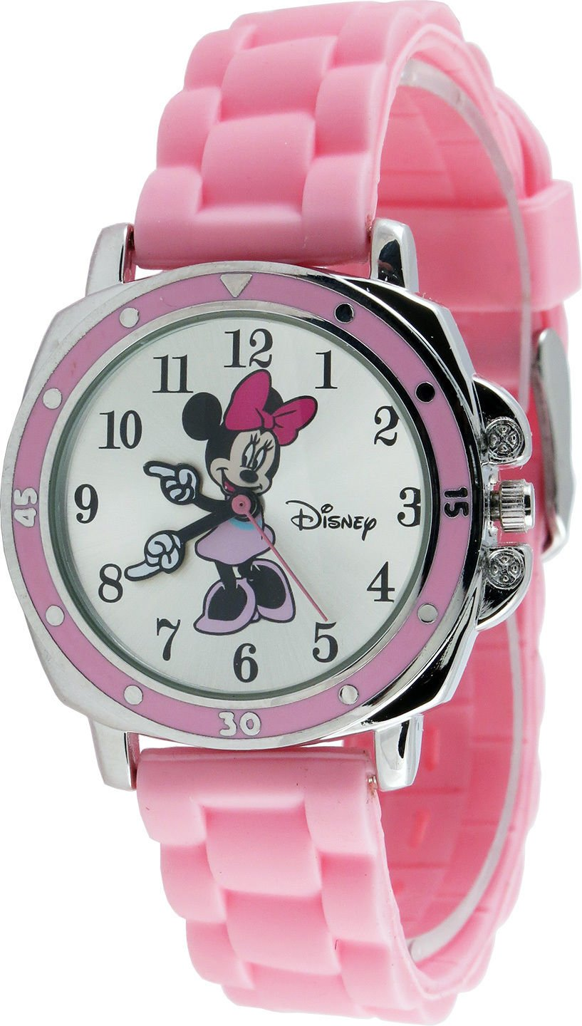 New Watch Disney Minnie Mouse KIds' MN1063 Silver Dial Pink Rubber Strap Analog Watch