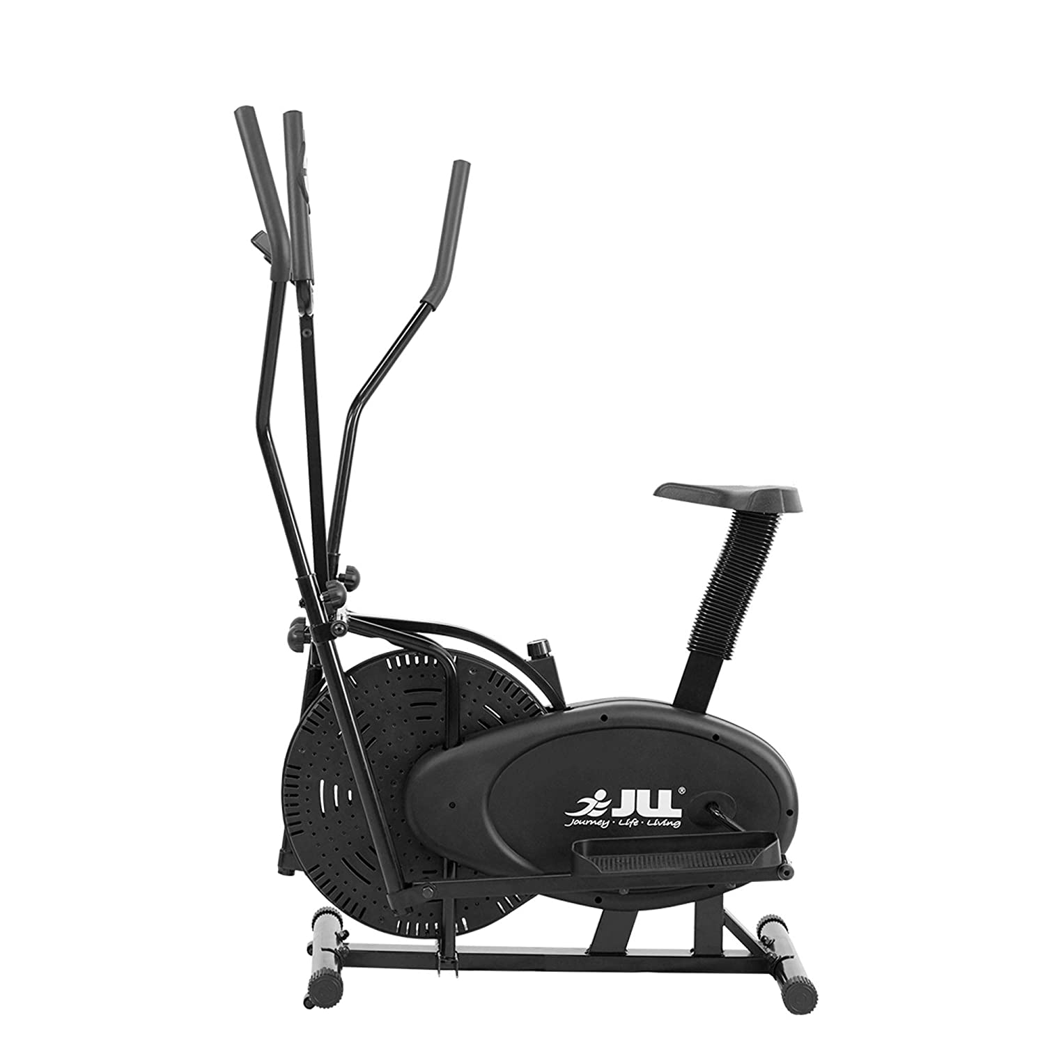 JLL 2-in-1 Elliptical Cross Trainer Exercise Bike CT100, Fitness Cardio  Workout Machine-With Seat + Pulse Heart Rate Sensors, Console Display,  5-level
