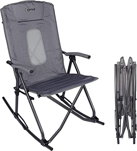PORTAL Oversized Quad Folding Camping Rocking Chair High Back Hard Armrest Carry Bag Included