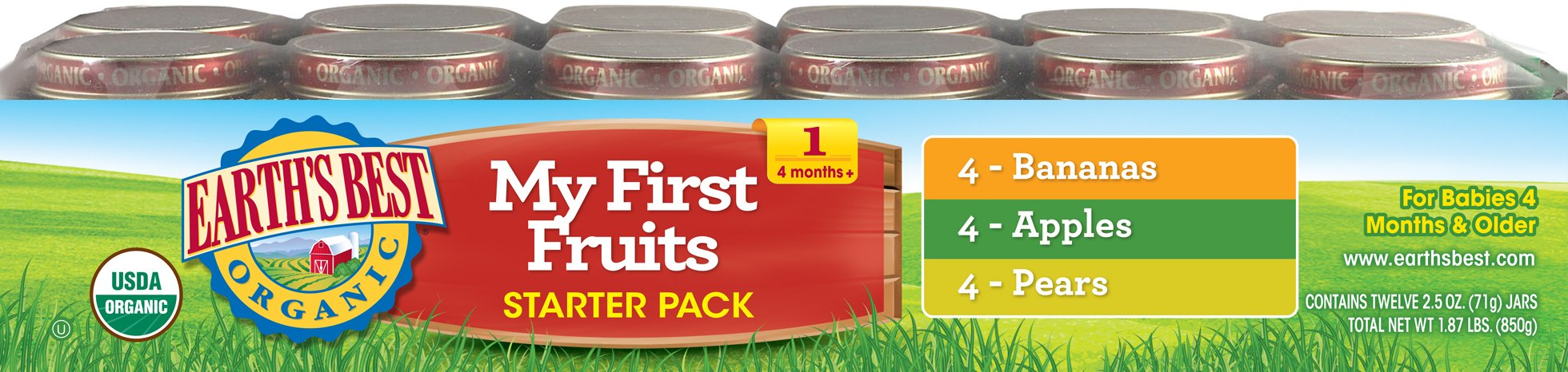 Earth's Best Organic First Fruit Baby Food Starter Kit, 12 Jars by Earth's Best (Image #1)