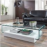 Glastisch Couchtisch auf Rollen, Länge 90 cm, Glasdesign: Amazon.de ...