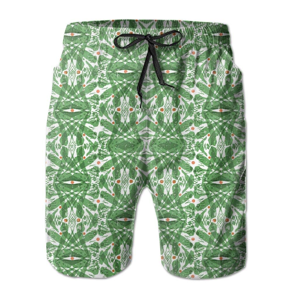 Shadidi Mens Summer Abstract Green Leaves Quick-Dry Running Swim Trunks Boader Shorts Beach Swimsuit Sports