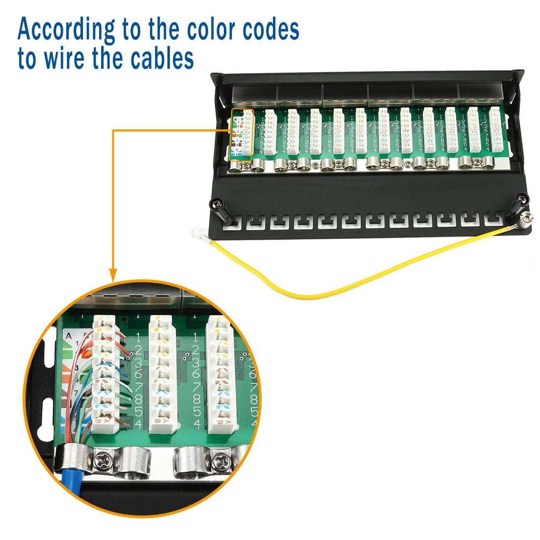 Uxcell 12 Port Ethernet Shielded 110 Type 1u T568a T568b Wiring Diagram Standard 19 Rackmount Black Cat6 Patch Panel Computers Accessories