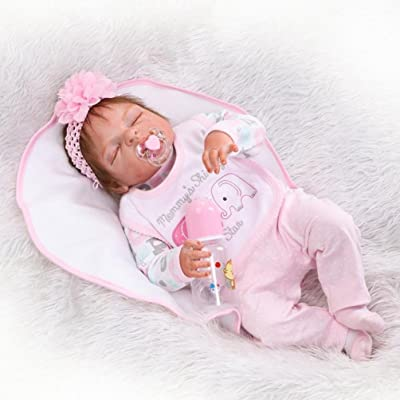 23inch Bebe Reborn muñecos Bebes realistas niño niñas niña Realista con Cuerpo de Silicona muñecas Bebe Reborn bebés Reales Recien Nacidos Ojos Cerrados Doll: Juguetes y juegos