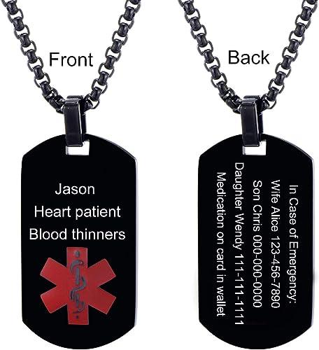 """2 x Stainless steel medical alert allergy /""""penicillin allergy /"""" heart pendant"""