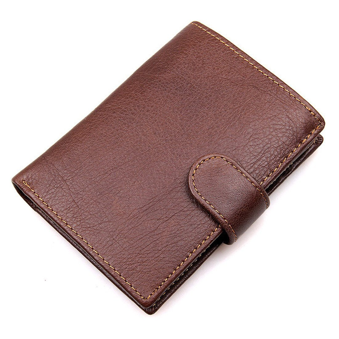 10bdad68acce Amazon.com  HRS Wallets for Men - RFID Blocking Trifold Genuine Leather  Wallet With 3 ID Window (brown)  Clothing