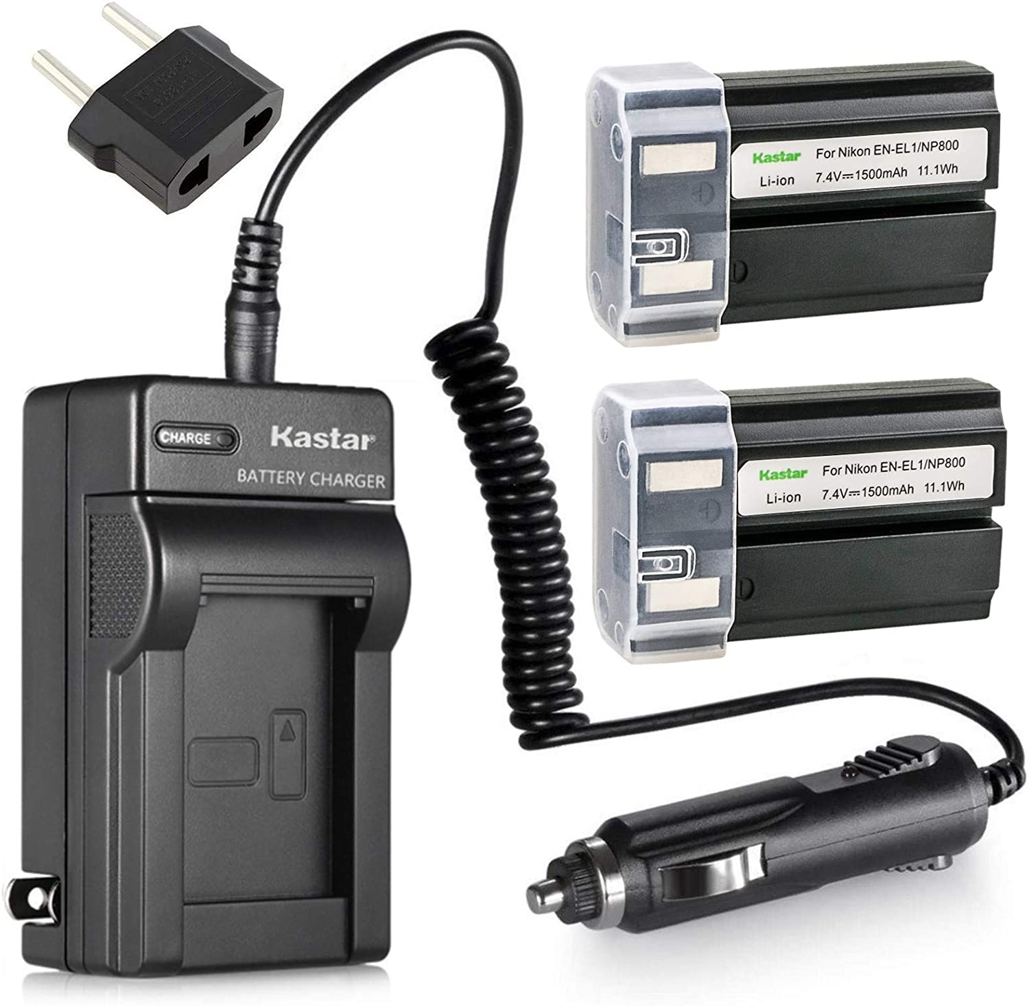 Kastar EN-EL1 Battery (2-Pack) and Charger Kit for Nikon ENEL1, Minota NP-800 and Nikon Cooipix 4300 4500 4800 5400 5700 775 8700 880 885 995 Coolpix E880 and Konica Minota DG-5W Dimage A200 Cameras