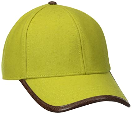 2e2ada1cc San Diego Hat Company Men's Wool Cap with Faux Leather Trim On The Brim  Edge,