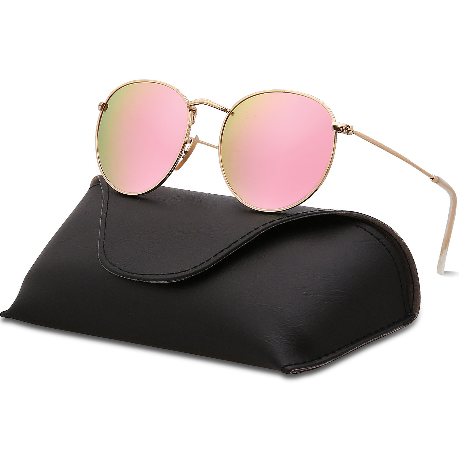 SOJOS Small Round Polarized Sunglasses Mirrored Lens Unisex Glasses SJ1014 3447 with Gold Frame/Pink Mirrored Polarized Lens with Case by SOJOS