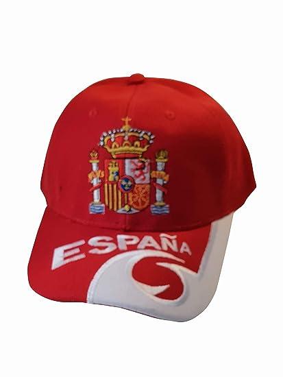 Q&J Gorra con Escudo de España Color Rojo - Talla Adulto Ajustable ...