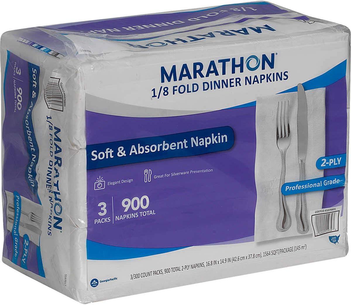 White: 1//8 Fold 900-count Marathon Dinner Paper Party Napkins