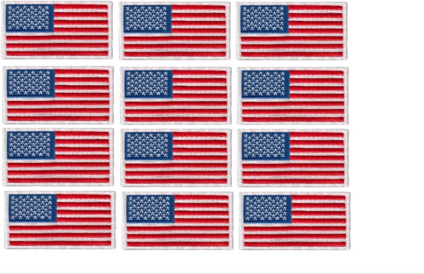 12 Pack - American Flag Embroidered Patch, white border USA United States of America, US flag Patch, sew on