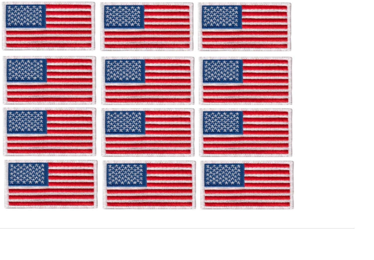 12 Pack - American Flag Embroidered Patch, white border USA United States of America, US flag Patch, sew on by Hero's Pride