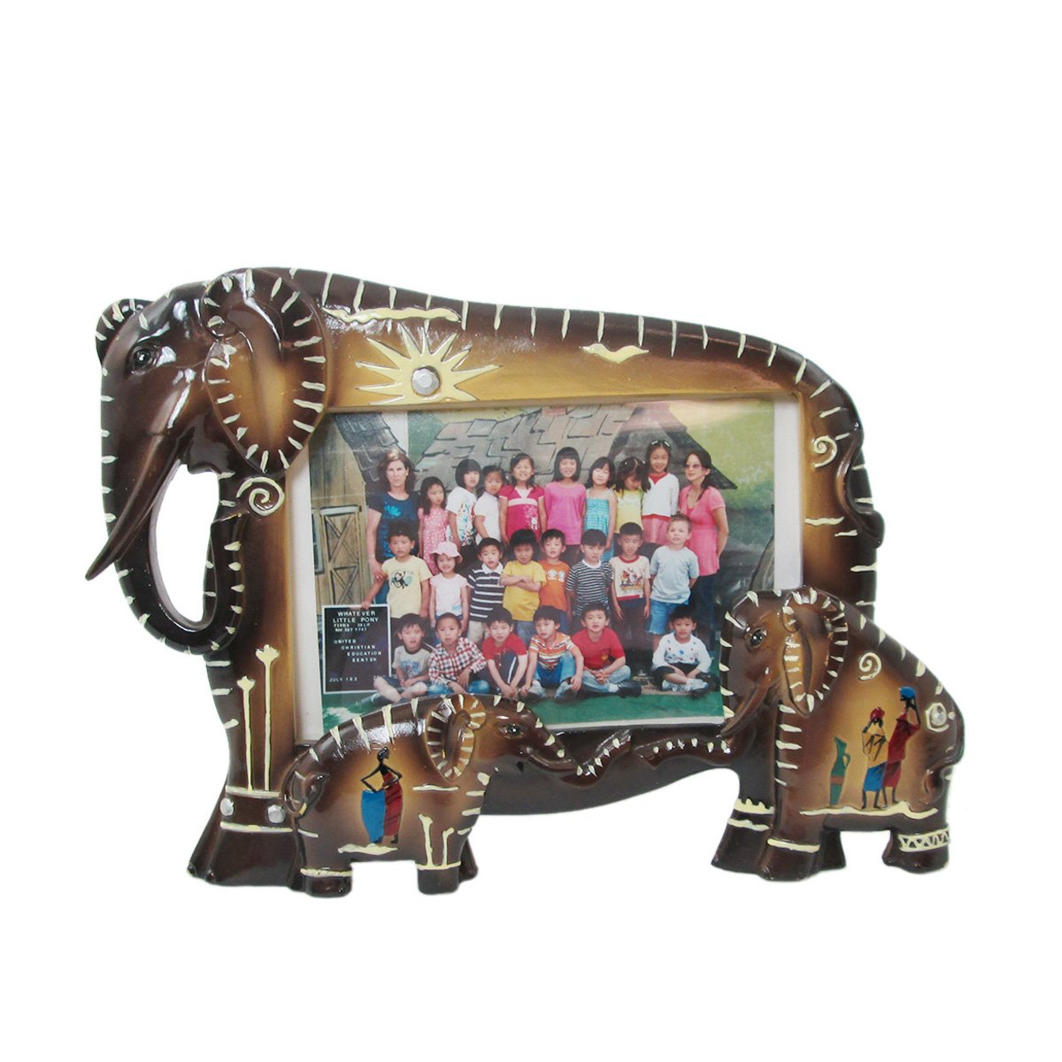 Animal Wildlife Tribal Elephant Family Faux Wood Picture Frame (3''x5'' Photo)