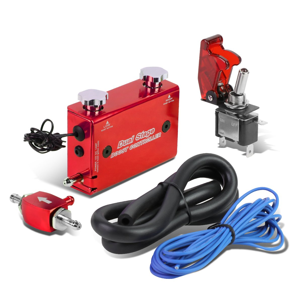 Dual Stage Turbocharger Boost Electronic Controller Kit + Rocket Switch (Red) Auto Dynasty