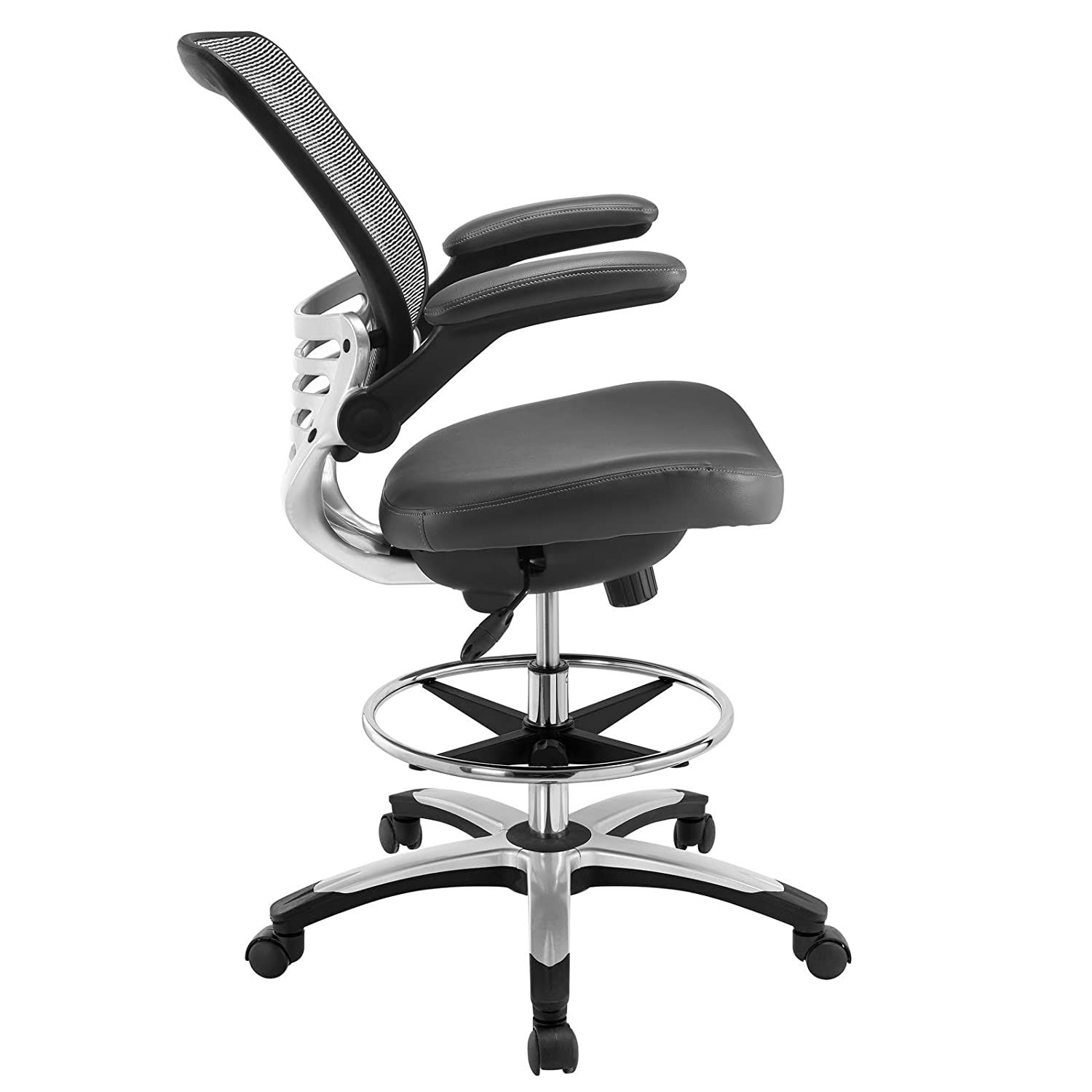 amazoncom modway edge drafting chair in gray vinyl  reception  - amazoncom modway edge drafting chair in gray vinyl  reception desk chair tall office chair for adjustable standing desks  flipup arm draftingtable