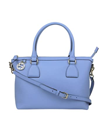 da060480700 Image Unavailable. Image not available for. Color  Gucci GG Charm Powder Blue  Leather Medium Convertible Straight Bag ...