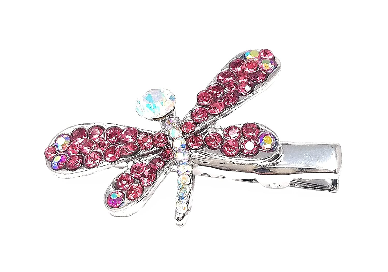 Amazon Com Coraline Crystal Dragonfly Hair Clip Hair Pin Pink Beauty