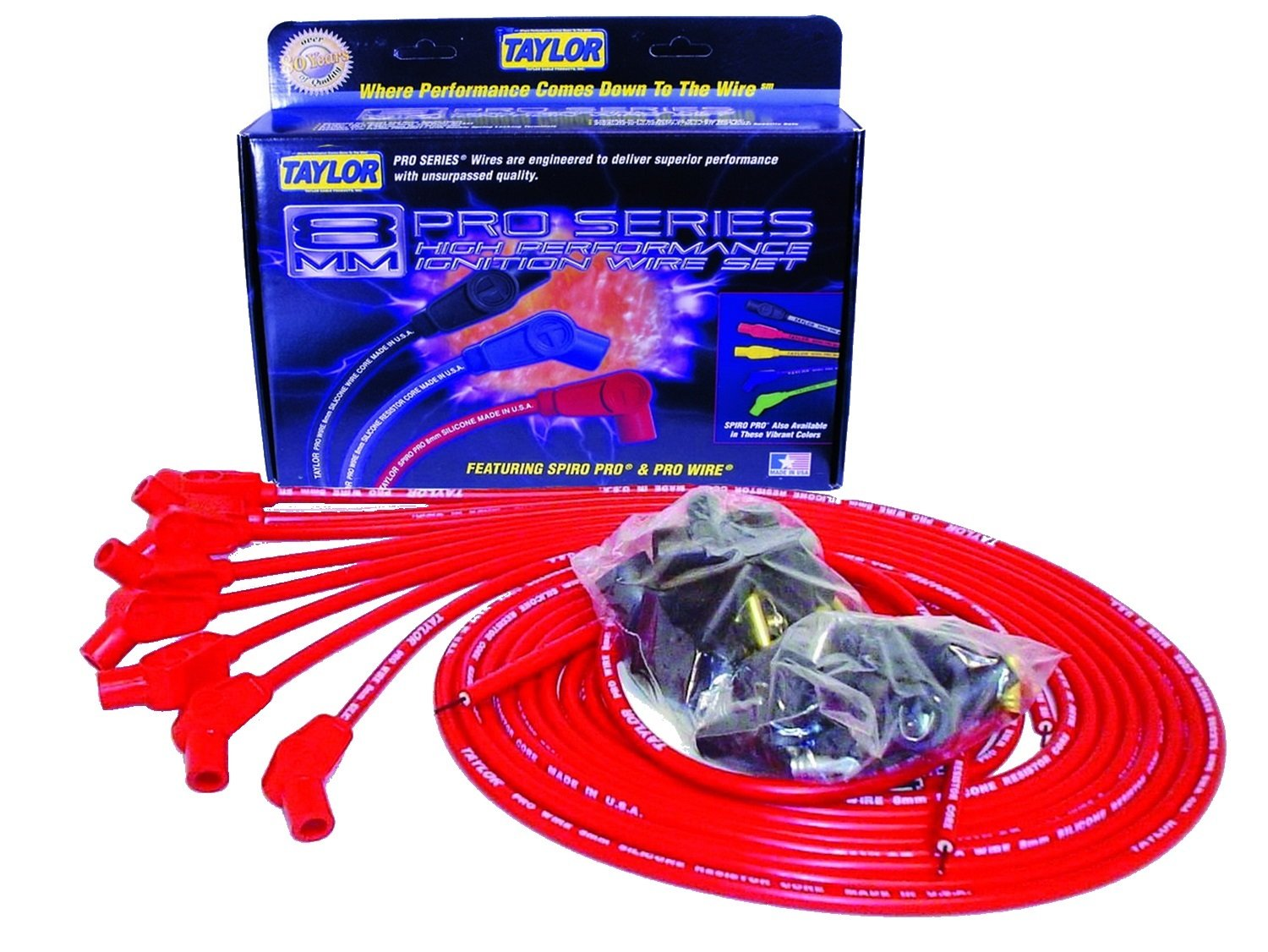 Taylor Cable 70253 8mm Pro Wire Red Spark Plug Wire Set by Taylor Cable