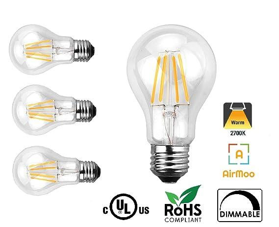 airmoo A19 LED filamento Vintage bombilla, 6 W (60 W equivalente), intensidad