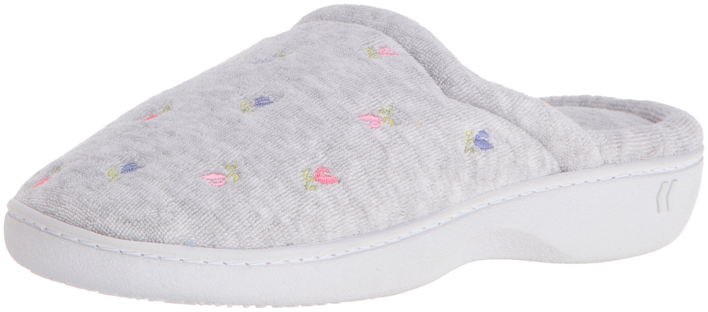 Isotoner Women's Classic Terry Clog Slippers Slip on, Heather Grey Flower, Large / 8.5-9 US