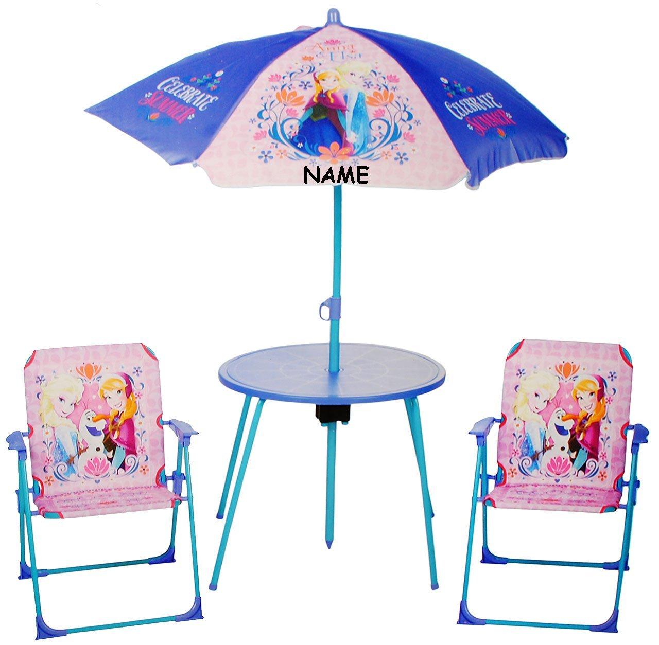 Sitzgruppe - Tisch + 2 Kinderstühle + Sonnenschirm -  Disney die Eiskönigin - Frozen  - incl. Name - für Kinder - Campingstuhl - Klappstühle / kippsicher - für INNEN & AUßEN - Klappstuhl - Kindermöbel für Mädchen & Jungen - Plastik / Nylon & Metall - Stuhl Stühle / Kinderzimmer / Kindertisch - Kinder - Gartenmöbel Kindertischgruppe - völlig unverfroren Prinzessin Elsa Anna Arendelle - Olaf