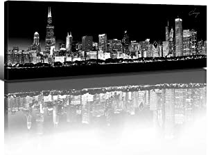 Chicago Skyline Wall Art Black and White Night View Bedroom Canvas Prints City Decor USA Skyscraper Painting Urban Building Landscape 14x48 Panoramic Framed Pictures Modern Home Decorations 1 Set