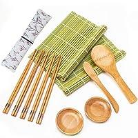 Sushi Making Kit, Bamboo Sushi Mat, Including 2 Sushi Rolling Mats, 5 Pairs of Chopsticks, 2 Sauce Dish, 1 Rice Making Tool, 1 Storage Bag, Roll On, Beginner Sushi Kit