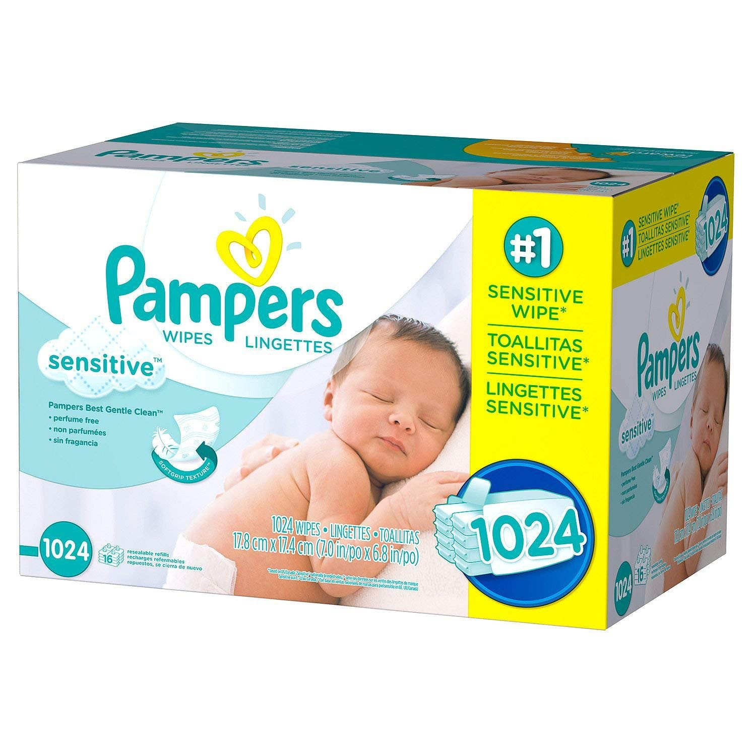Pampers Stages Sensitive Wipes 1024 count