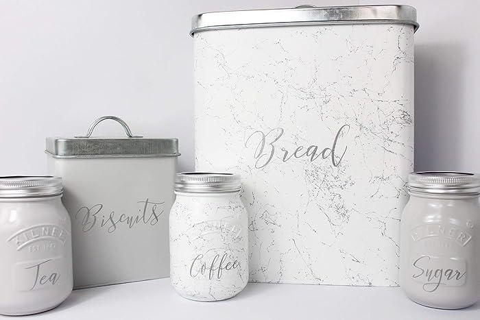 Grey White Marble Silver Kitchen Set Of 3 Tea Coffee Sugar