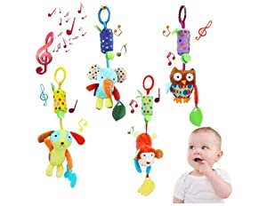 Baby Toys for 0 3 6 9 to 12 Months, Soft Hanging Crinkle Squeaky Sensory Learning Infant Newborn Stroller Car Seat Crib Travel Activity Plush Animal Wind Chime with Teether for Boys Girls – Pack of 4