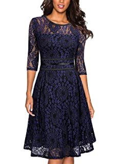 f127ecf5e04 Amazon.com  Noctflos Lace V Neck Fit   Flare Midi Cocktail Dress for ...