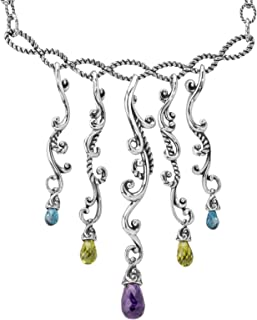 product image for Carolyn Pollack Sterling Silver Green Peridot, Purple Amethyst and Blue Topaz Gemstone Dangle Necklace 17 to 20 Inch