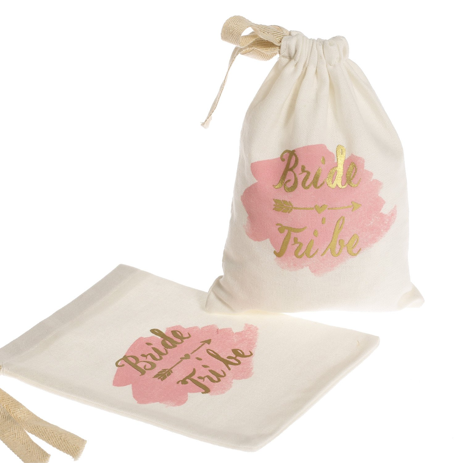 "Ling's Moment 10pcs 5""x7"" Gold Foil Bride Tribe Bridesmaid Gift Bags w/Pink Watercolor - Cotton Muslin Drawstring Bags for Bridal Shower Bachelorette Hen's Party Hangover Kit Hangovers Bag"