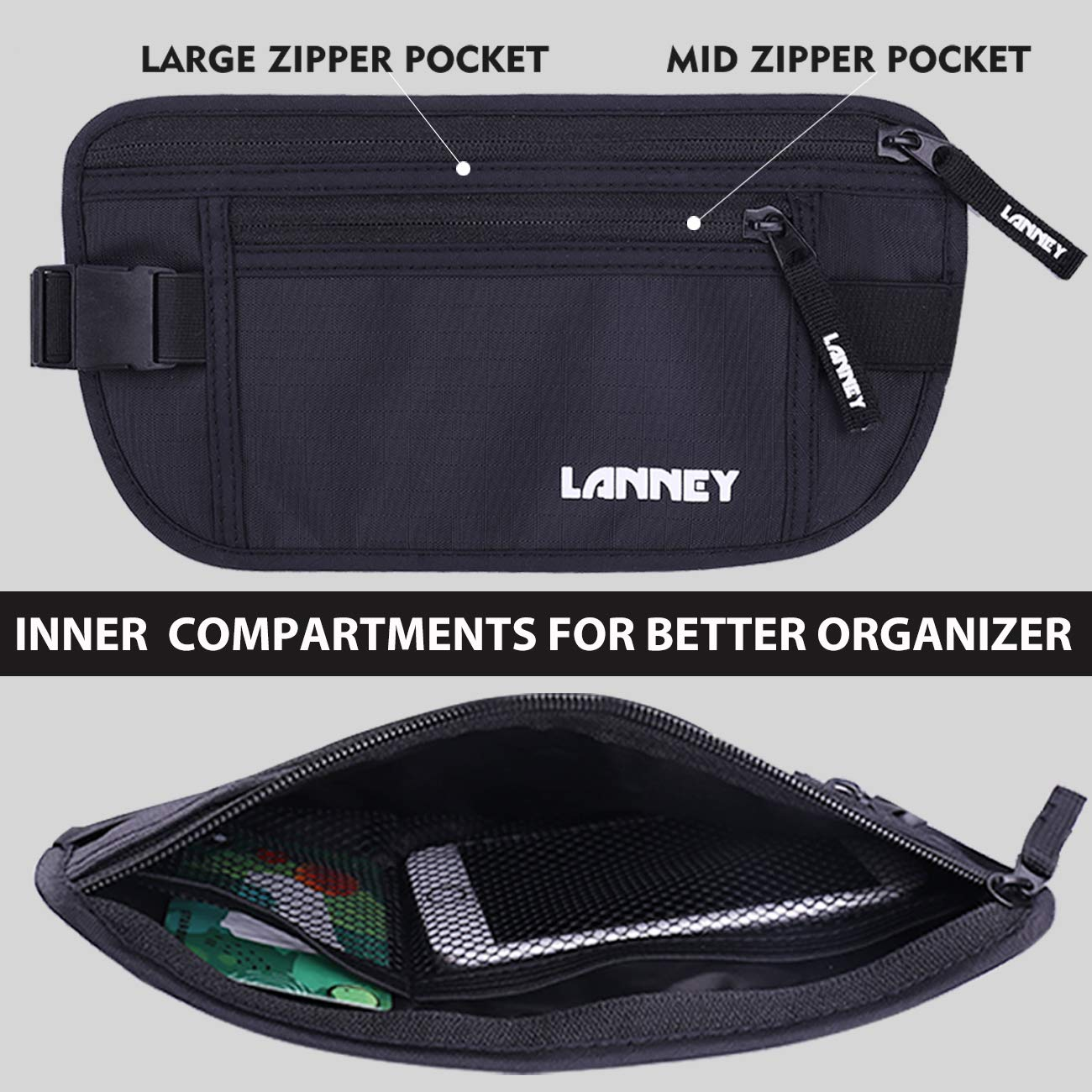 Travel Money Belt Blocking Wallet For Credit Card & Passport Holder With 2pcs RFID Sleeves (Black) by LANNEY (Image #4)