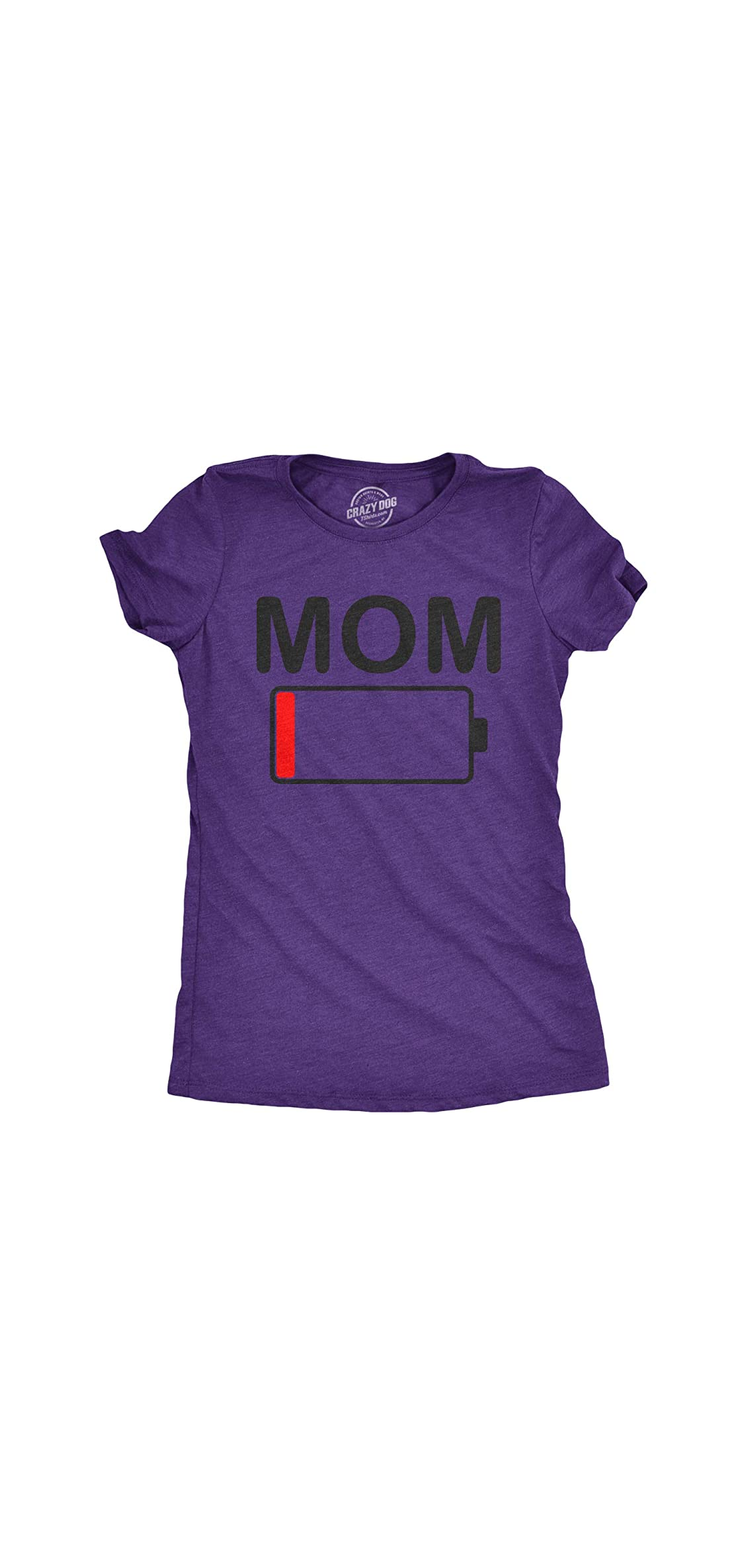Womens Mom Battery Low Funny Empty Tired Parenting Mother T
