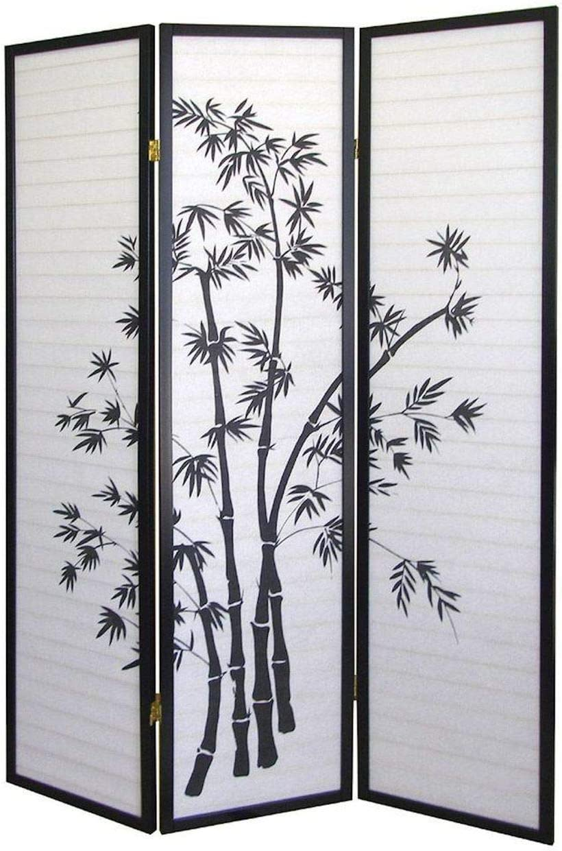 Legacy Decor 3 Panel Black Bamboo Print Oriental Privacy Shoji Screen Room Divider