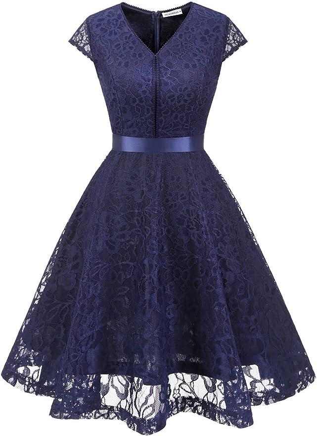 TALLA XS. MUADRESS Fashion Vestido Corto De Fiesta Elegante Mujer De Encaje Escote en V Estampado Flor Vestido Boda Cóctel Marino XS