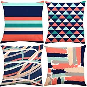 Decorative Throw Pillow Covers 18 x 18 Inch Double Side Design, ZUEXT Set of 4 Cotton Linen Indoor Outdoor Pillow Case Cushion Cover for Car Sofa Home Decor (Coral Navy Aqua Beige Grey, Mix and Match)
