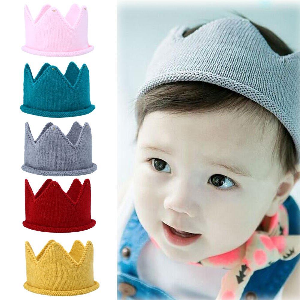 Amazon.com  Itaar Baby Birthday Crown Hat Warm Soft Knit Crown Headgear Crochet  Beanie Warm Cap (5 Pack)  Clothing 764e28f0642
