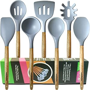 Gray Silicone Kitchen Utensils with Acacia Wood Handles 7 Piece Set by YayKitchen