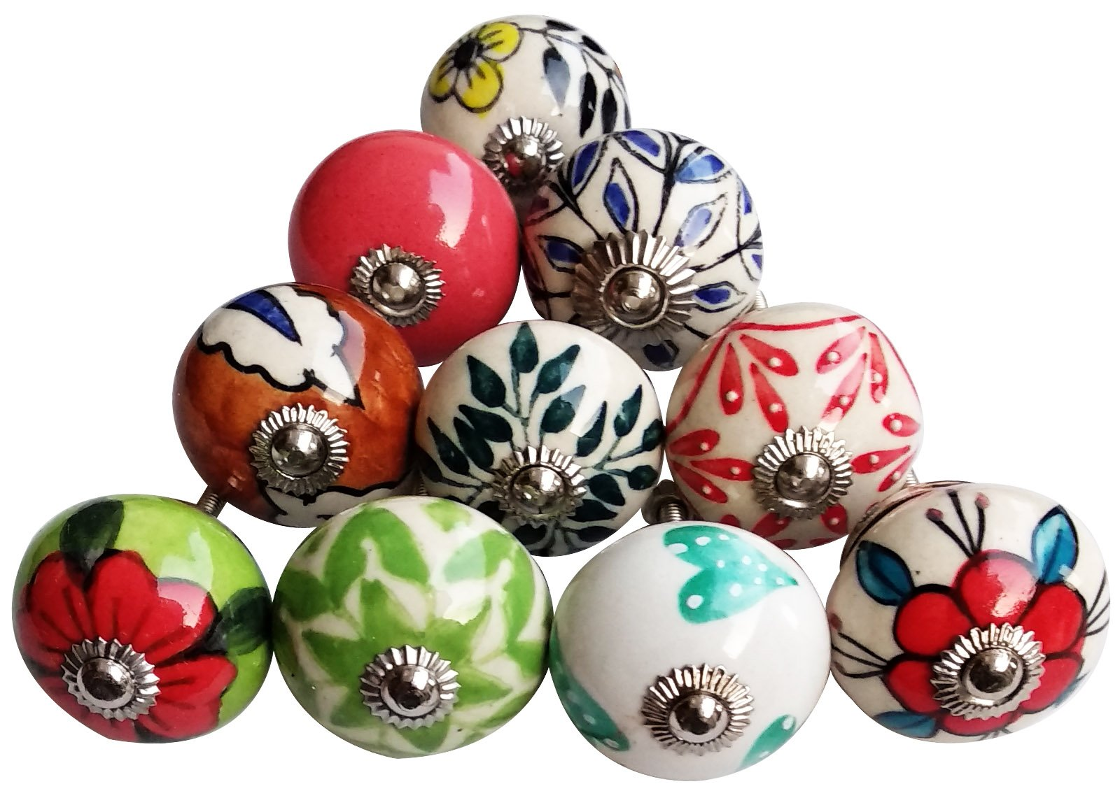 Beautifull Hand Printed 10 Solid Colour Round Shape Drawer Knobs Cabinet Hardware for Kids Door and Home & Kitchen Decoration