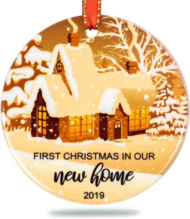 Creawoo Our First Christmas in Our New Home Ornament 2019, Housewarming Gift Xmas Tree Decoration, Unique Christmas Ceramic Ornament