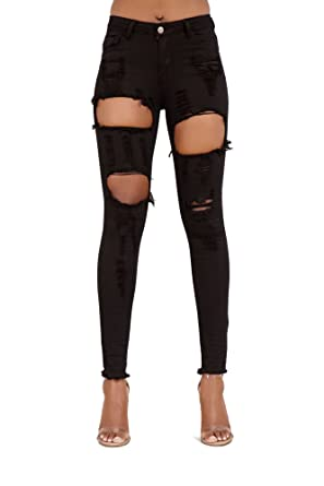 196d5cba47bd LustyChic Womens Blue Black Ripped Knee Cut Faded Skinny Slim Fit Stretch  Frayed Sexy Denim Jeans