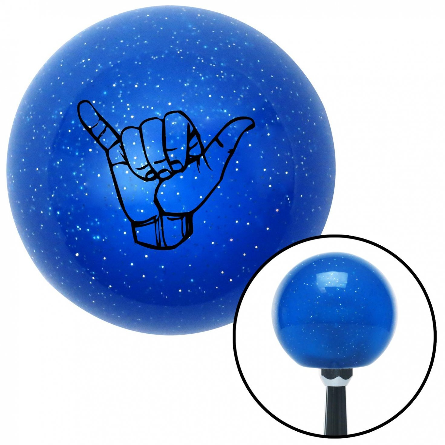 Black Hang Loose w//Detailed Hand American Shifter 22457 Blue Metal Flake Shift Knob