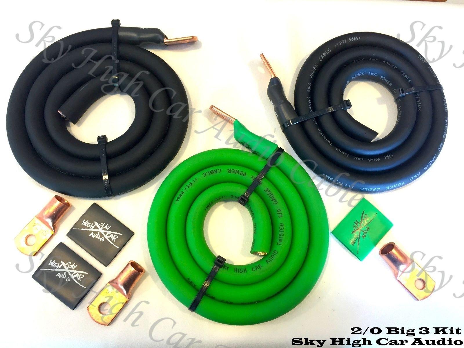 Sky High Oversized 2/0 Gauge AWG Big 3 Upgrade GREEN/BLACK Electrical Wiring Kit