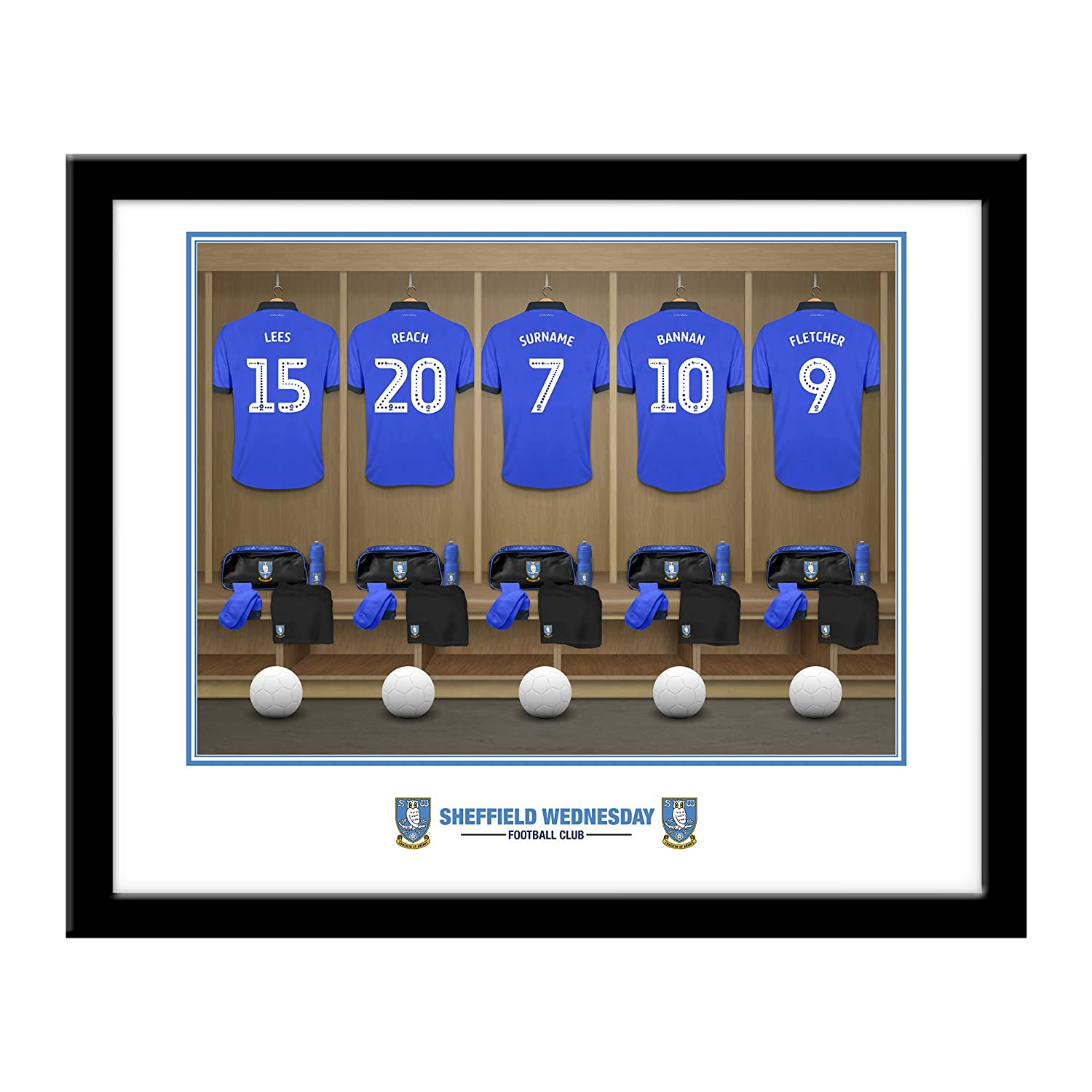 Personalised Official Sheffield Wednesday FC Dressing Room Framed Print