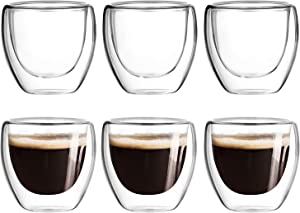Espresso Cups,Nespresso Shot Glasses,Glass Coffee Mugs,Double Wall Coffee Mug,Clear Coffee Mug,Glass Tea Cup,Insulated Glasses,Dishwasher Safe,Suit for Nespresso Machine (2.5oz 80ml,Set of 6)