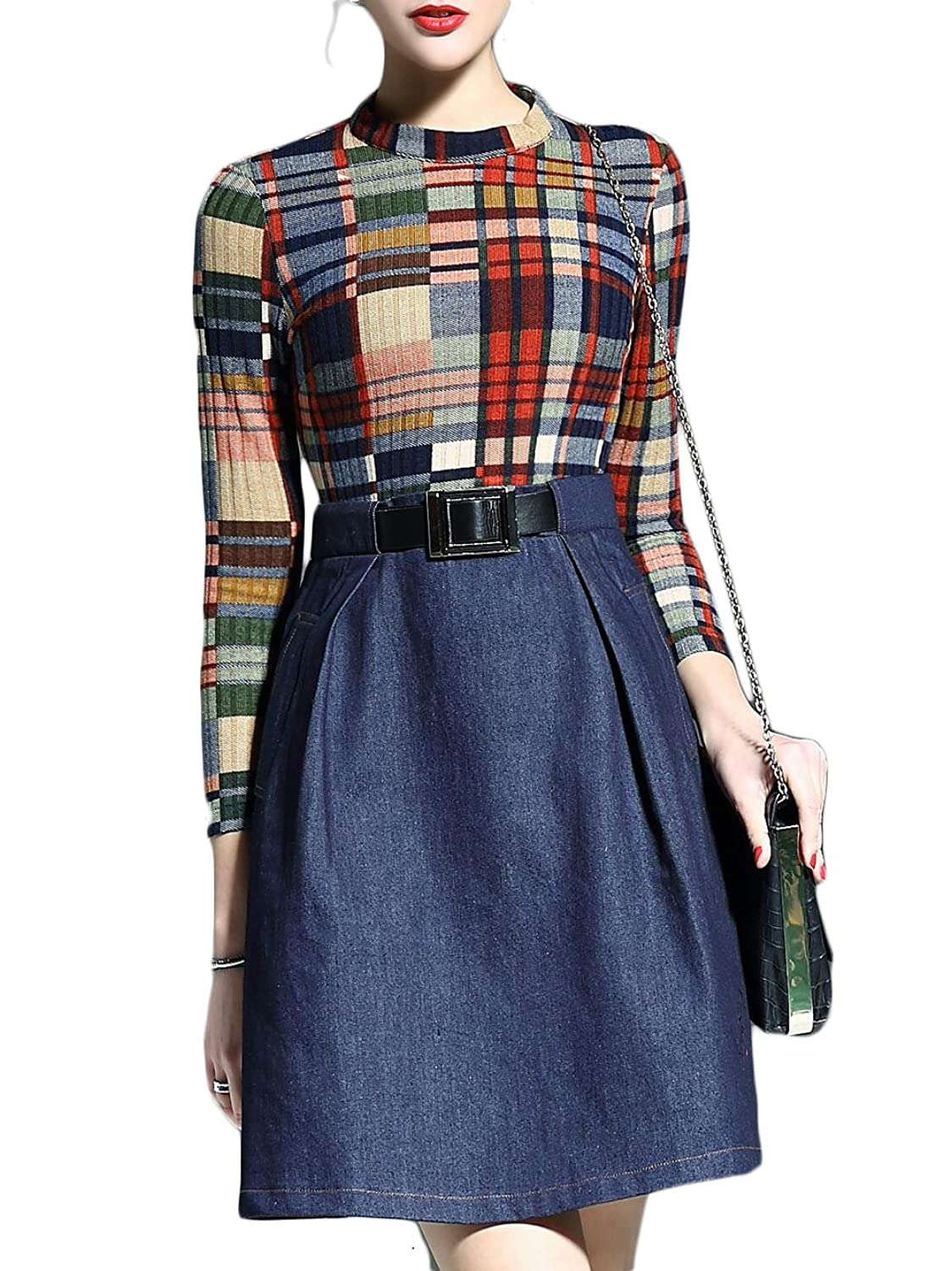 Women's Color Block Belted Pockets A-Line Combo Dress